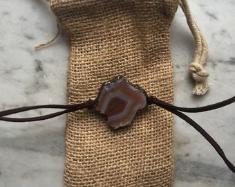 Wrap around leather geode bracelet choker