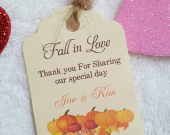 "Personalized Favor Tags 2.5""Lx1.8""w'', Wedding tags, Thank You tags, Favor tags, Gift tags, Bridal Shower Favor Tags, fall wedding favor tag"