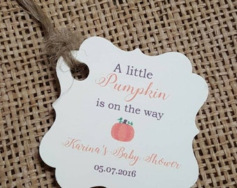 """Personalized Favor Tags 2x2"""" , Baby Girl Shower  tags, Thank You tags, pumpkin baby shower, fall baby shower, little pumpkin"""