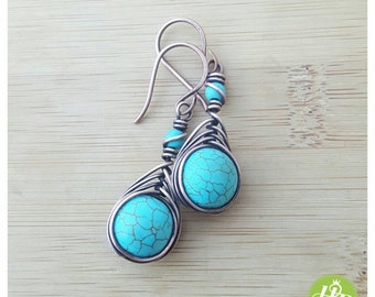 Turquoise wire earring, copper dangle earring turquoise wire wrapped earring copper drop earrings gemstone wire earring copper jewelry wire