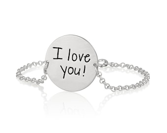 Signature jewelry- Handwriting Disc Bracelet - Signature Bracelet - Personalized Name Bracelet - Word Bracelet