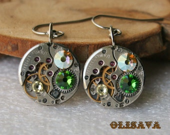 Steampunk Earrings with  Vintage Mechanical Watch Movement and   Swarovski crystals , Steampunk Earrings , Steampunk jewelry