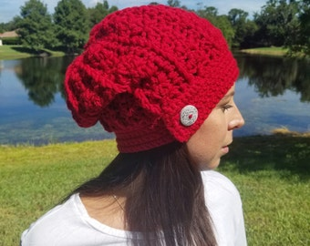 Red Ribbed Slouchy Beanie