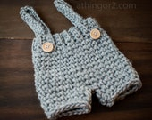 Adjustable Baby Overall Short Suspender Pants; Baby Trousers; Crochet Boy Romper; Grey Boy Outfit - newborn and baby photography prop
