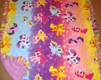 My Little Pony Rainbow Ombre Fleece Tie Blanket