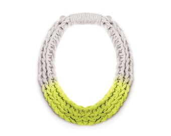 Neon Knot Necklace   Fashion Statement Necklace   Fluro pink or fluro yellow   Handmade Woven Yarn Jewelry   Designed by Saloukee