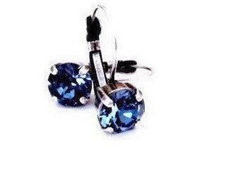 Denim Blue Swarovski Crystal Leverback Drop Earrings