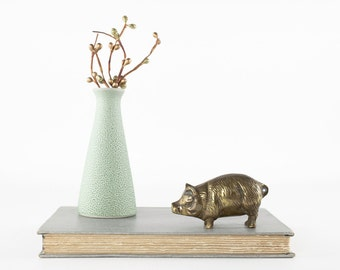 Vintage Brass Pig Figurine, Brass Animal, Brass Figurine, Pig Paperweight, Desk Decor, Vintage Home Decor, Collectible Pig Boar