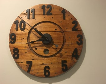 "23"" Wood Cable Spool Clock"