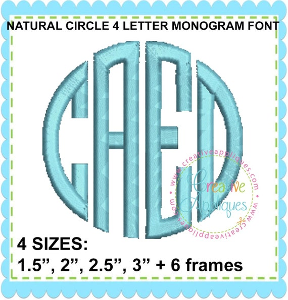 letter circle monogram by craftylittlenodes exclusive 4 sizes bx circle 4 letter monogram 4