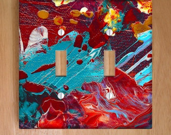 Comic Book Hero Vinyl Double Light Switch Cover. Abstract Painting, Paint Splatter, Modern Art Home Decor, Dorm Decor, Vinyl Stickers
