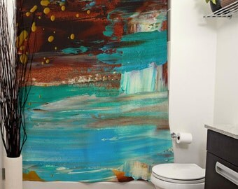 Paradise Cove Printed Shower Curtain, Bathroom Decor, Home, Abstract Art, Modern Art, California, Knife Painting, Turquoise, Paint Splatter