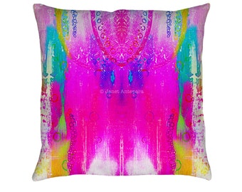 Dreamcatcher Printed Throw Pillow. Cushion Cover, Apartment and Dorm Decor, Sofa Cushion, Tie-Dye, Pink Decor, Native American, Watercolors