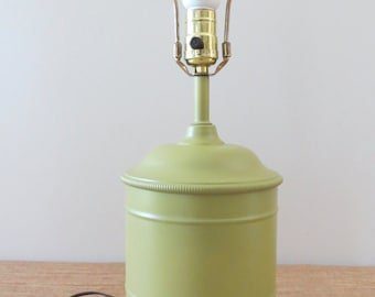 Vintage Green Metal Lamp - Accent Table Lamp