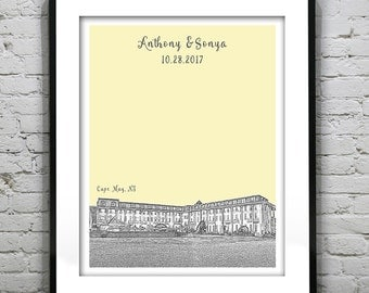 Cape May NJ Congress Hall - Personalized Wedding Guest Book Gift Poster Print -New Jersey Guestbook Version 3