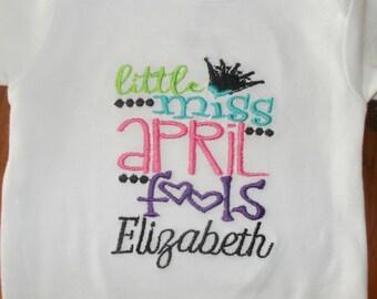 Girl April Fool's Shirt, Girl April Fool's Bodysuit, Little Miss April Fool's Bodysuit, Little Miss April Fool's Shirt