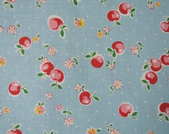 "Fat Quarter of Yuwa Atsuko Matsuyama 30's Collection Apples, Floral and Dots Fabric in Blue. Approx. 18"" x 22"" Made in Japan."