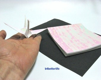"100 Sheets 5"" x 5"" White Color DIY Chiyogami Yuzen Paper Folding Kit for Origami Cranes ""Tsuru"". (AV paper series). #CRK-01."