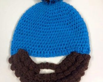 Handcrafted Crochet Beard Bobble Hat children and adults - all sizes available