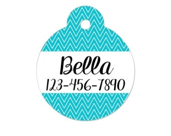 Personalized Pet ID Tag - Personalized Pet Tag - Custom Pet ID Tag - Chevron Name Tag - Cat ID Tag - Cat Collar Name Tag - Turquoise