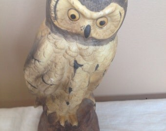 Vintage Ceramic Owl Sculpture/ Paperweight