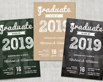 Graduate Scribbles PRINTABLE Grad 2016 Party Invitation Custom Modern Trendy Sketched Graduation Invite Photo Announcement PRINTED / DIGITAL