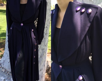 1930s Deep Periwinkle Coat Dress by The Mayfair Shop