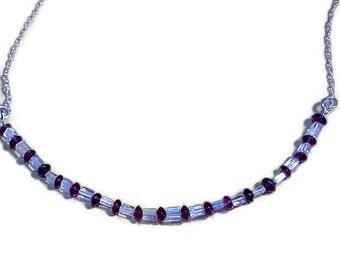 aquamarine and amethyst bead necklace