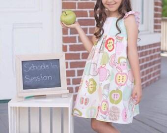 Back to School Dress - Apple Girls Dress - Ruffle Dress - Flutter Sleeves - School Theme - Sundress - Handmade Dress - Gift Idea