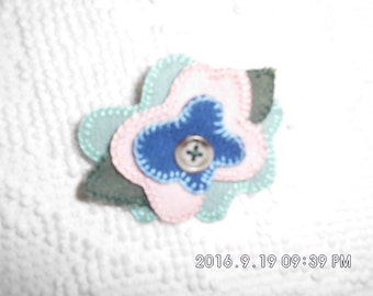 Handmade felted 100% Wool Flowered Hair Pins with button center.