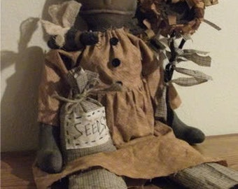 Primitive Black Folk Art Doll - Sunflower - Seed Bag