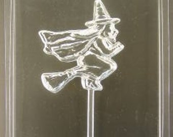 Flying Witch on Broom chocolate lollipop mold