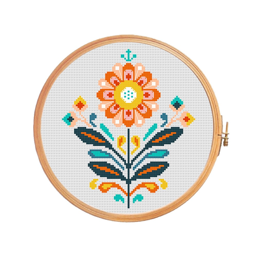 Traditional polish folk flower modern by patternscrossstitch