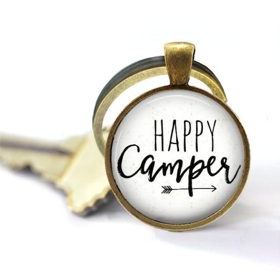 Happy Camper, Camping Keychain, Trailer Key Chain, Travel Decor, RV Decor, Rustic Key Holder, Travel Trailer, Camper Trailer, Trailer Trash