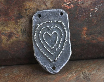 Heart Connector Pendant Handcast Pewter Jewelry Supply No. 285P