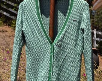 LE TIGRE Classic Green White MEDIUM V-Neck Cardigan Argyle 80s Vintage Sweater