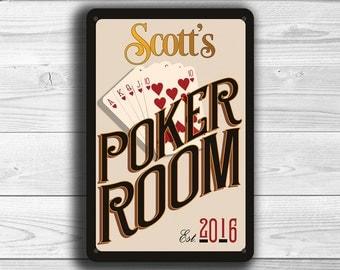 CUSTOM POKER ROOM Sign, Customizable Poker Room Signs, Vintage style Poker Room Sign, Personalized Poker Room sign, Gift for Him, Poker Room