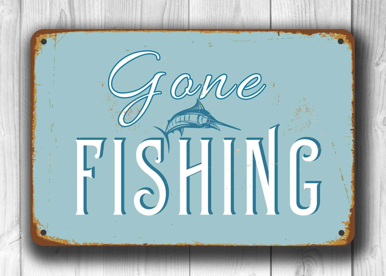 GONE FISHING SIGN Gone Fishing Signs Vintage style Gone
