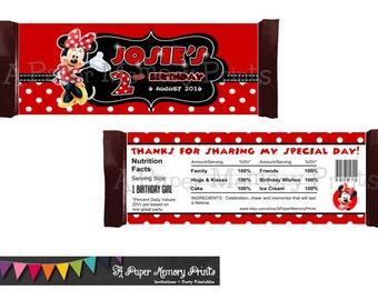 Minnie Mouse Candy Wrappers - 3 Colors To Choose From - DIY Printable