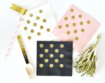 Gold Foil Napkins, Polka Dot Napkins, Gold Paper Napkins, Bridal Shower Napkins, Birthday Napkins - 50ct (EB3099DOT)