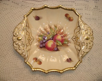 Aynsley Golden Orchard Handled Scalloped Square Bowl