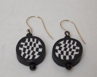 Handmade Black & White Dangle Earrings, Polymer Clay, Sterling Silver Ear Wires