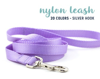 Nylon Leash with SILVER HOOK // 20 Colors // Choose Your Color, Width & Size // Basic Dog Lead