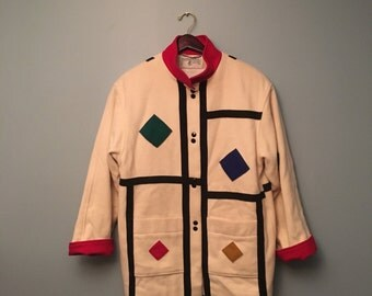 Wool Patchwork Jacket Art Deco Geometric Shapes Made in Yugoslavia International Scene