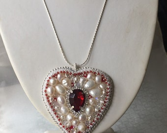 Swarovski Pearl and Crystal Heart Pendant