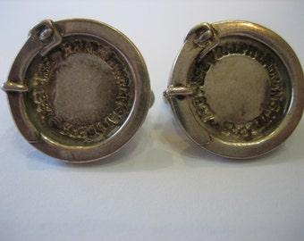 Vintage HTF Ralph Lauren Equestrian Harness Equestrian Saddlers Sterling Silver Clip Earrings
