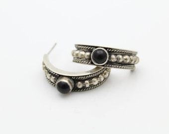 Tribal Open Hoop Earrings With Onyx Cabochons in Sterling Silver. [11222]