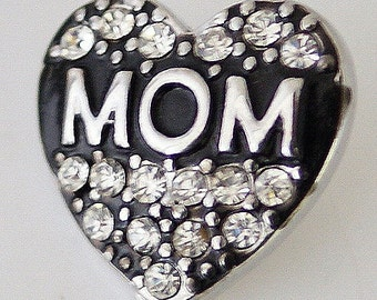 KB7034  MOM Crystal Heart w/Silver on Black Enamel