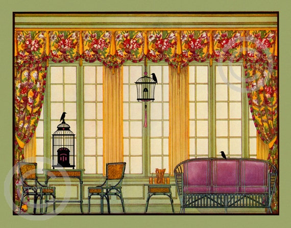 Art deco furniture print interior design 1929 sun room for Interior design 75063
