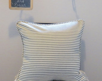 Black/Ivory Ticking Stripe Custom Pillow Cover w/Piping and Invisible Zipper